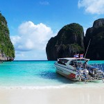 The Beach at Maya Bay - Phi Phi Island in Krabi Province, Thailand.