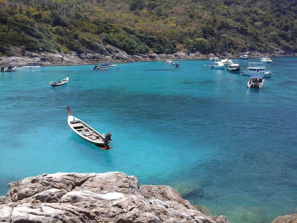 Boats at Bungalow Bay - Racha Yai Island